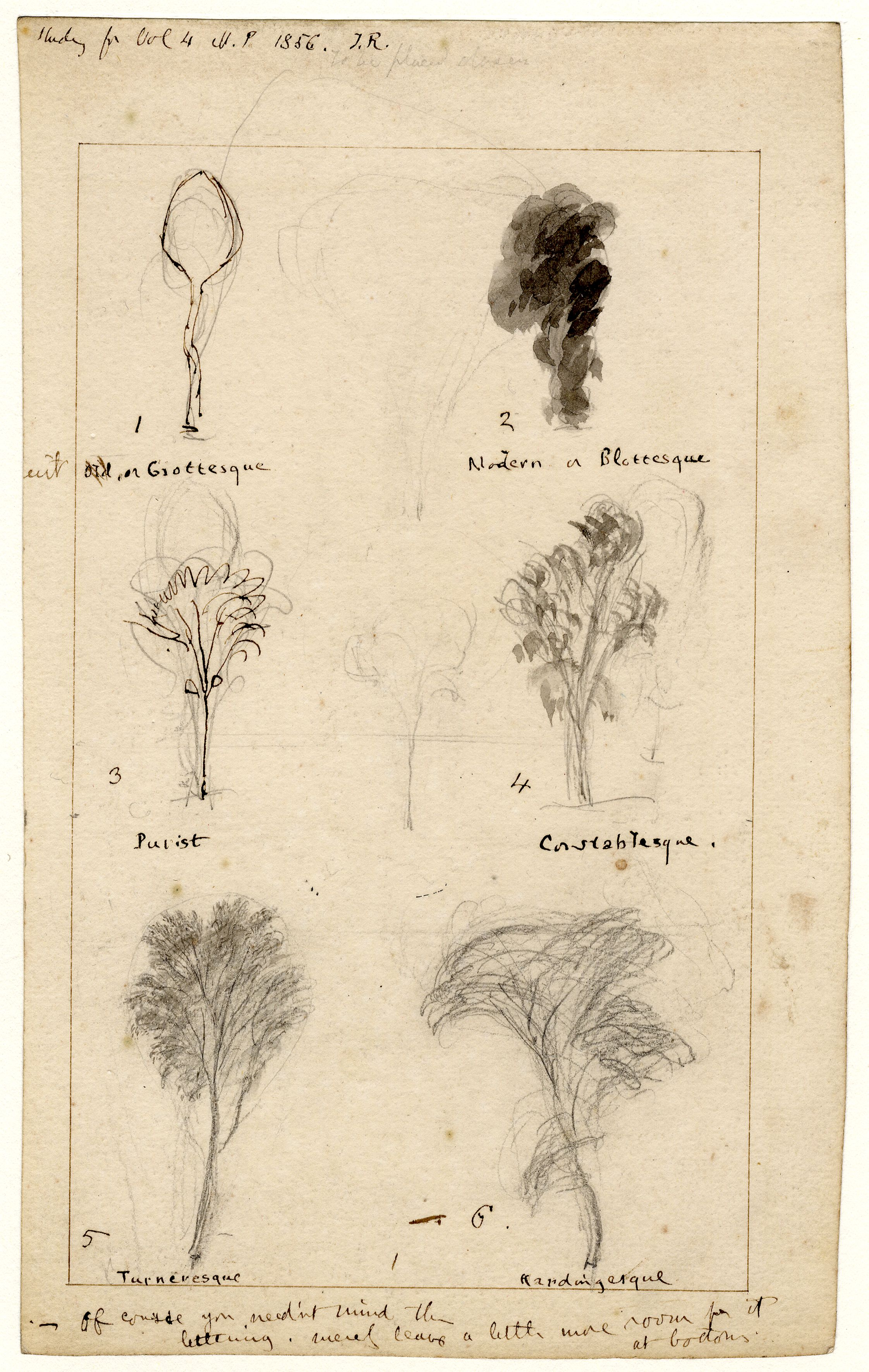 John Ruskin, The shape of trees as depicted by various artists, c 1855-56, RF1561 © Ruskin Foundation